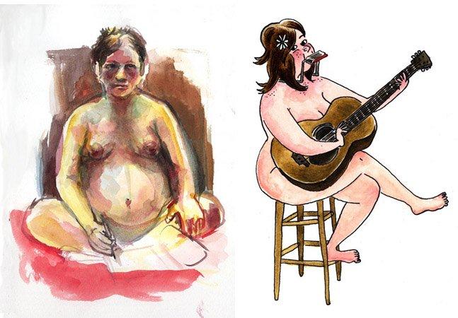 Mulheres cartunistas desenham seus corpos nus para protestar contra o machismo
