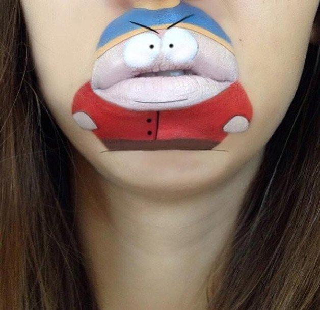 Maquiagem labial cria personagens
