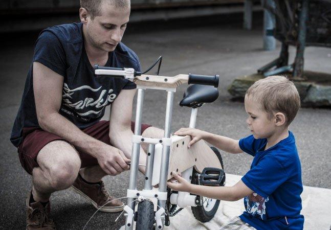 """A bicicleta com quadro inovador que """"cresce"""" junto com as crianças e pode ser usada dos 2 até os 7 anos"""