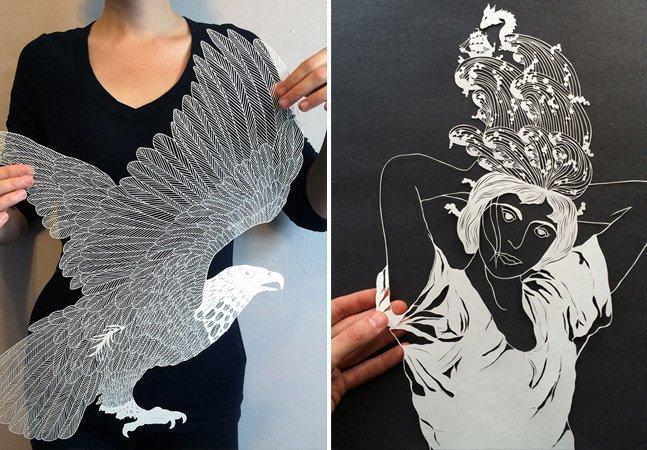 Artista cria figuras fantásticas com cortes de papel feitos à mão
