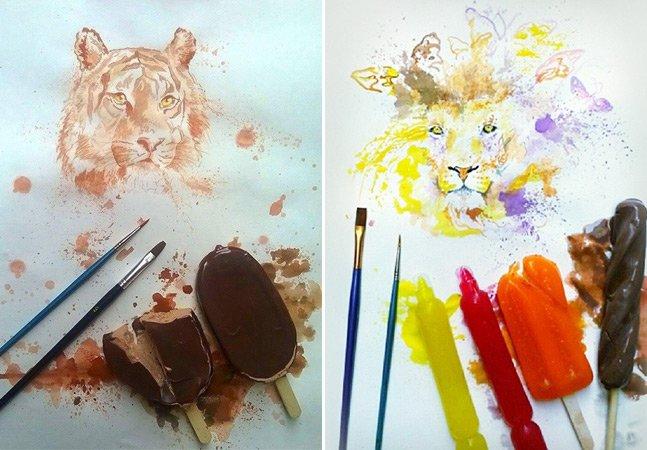 Conheça o trabalho do artista que usa sorvetes para desenhar