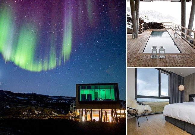 Hotel sustentável na Islândia oferece vista privilegiada pra Aurora Boreal