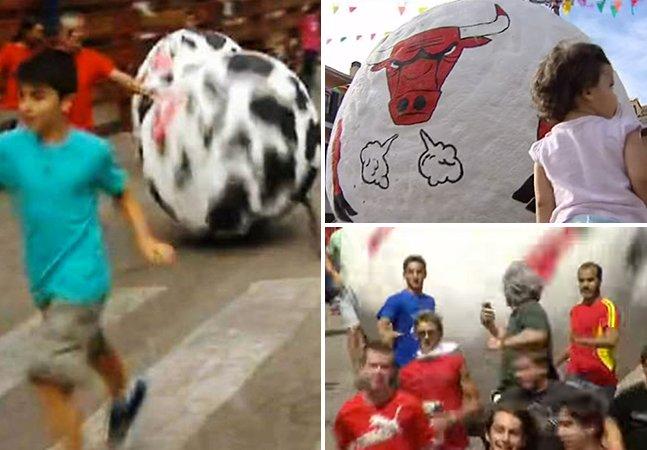 Cidade espanhola substitui touros por bolas gigantes em corrida tradicional
