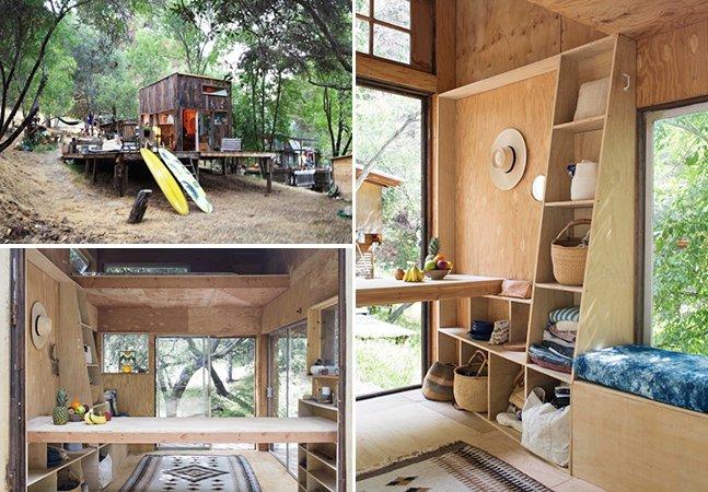 Arquiteto constrói cabana de madeira que se transforma em um verdadeiro refúgio no meio da floresta