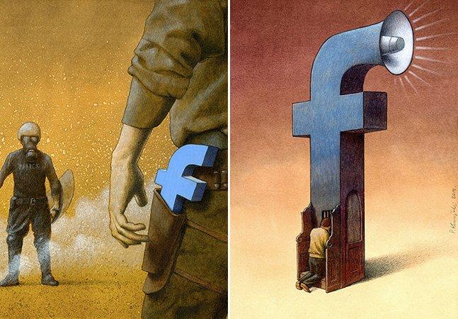 Artista faz críticas certeiras ao Facebook com ilustrações surreais