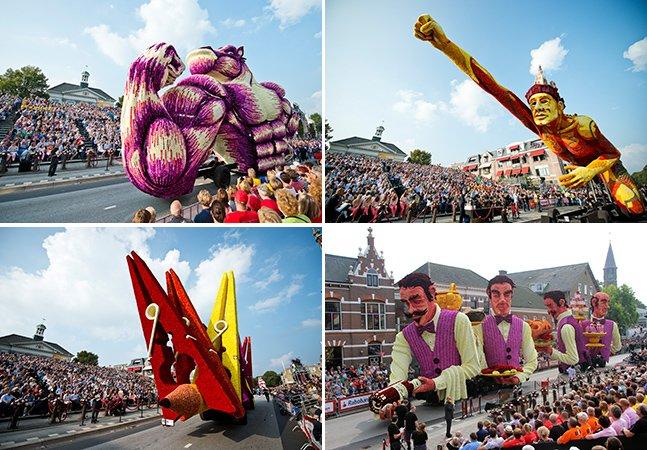Festival na Holanda traz carros alegóricos totalmente cobertos por flores