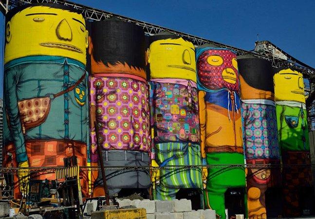 Dupla brasileira 'OsGemeos' cria obra gigante em silos industriais no Canadá