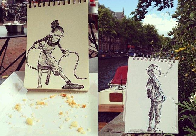 Ilustrador cria desenhos em seu bloco de notas que interagem com a vida real