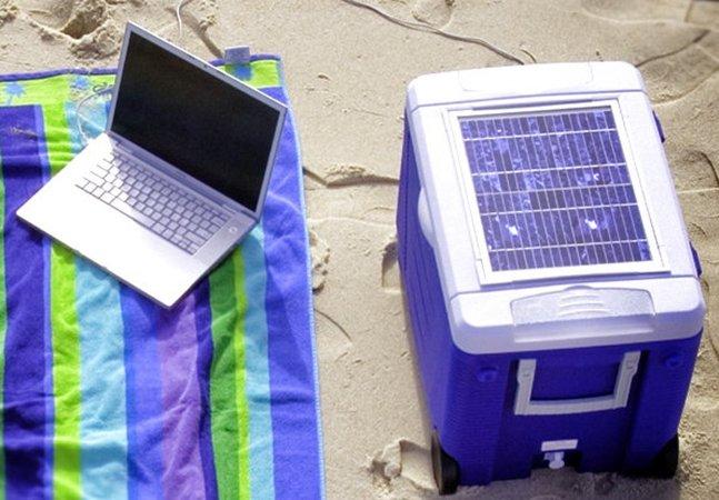Cooler inovador usa a luz do sol  para esfriar suas bebidas e ainda carregar seus gadgets