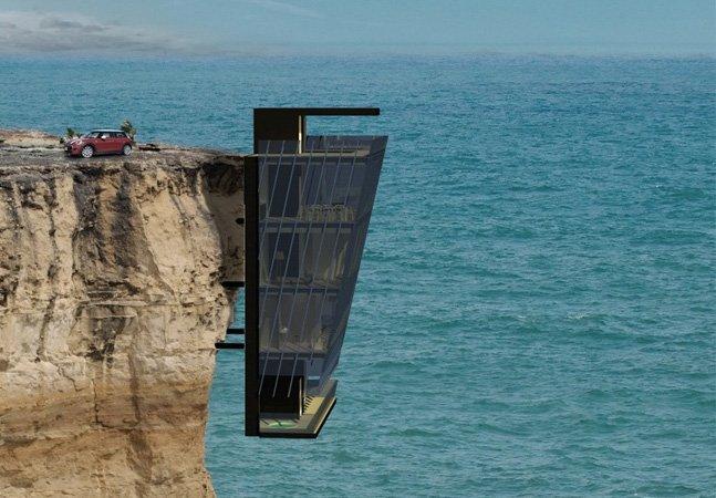 Só para corajosos: arquitetos projetam casa de cinco andares pendurada em um penhasco