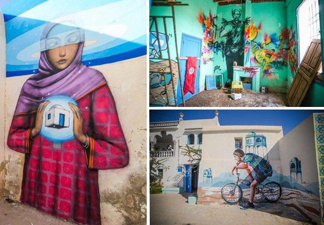 Conheça a ilha na Tunísia que está se transformando em museu de arte a céu aberto