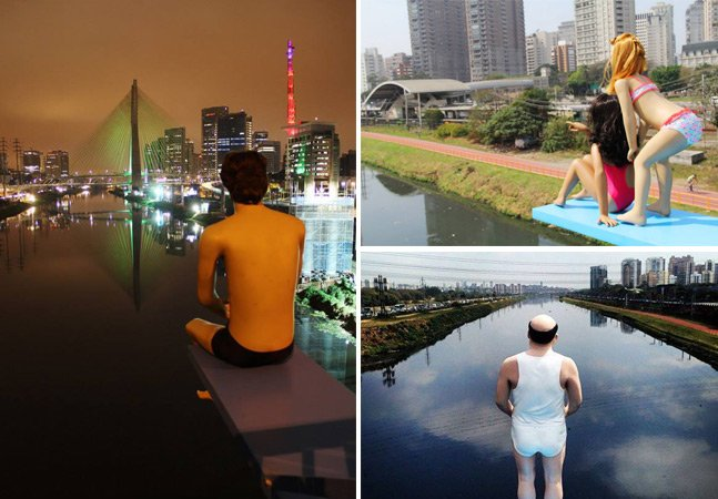 Artista brasileiro coloca trampolins no Rio Pinheiros pra protestar contra a poluição das águas