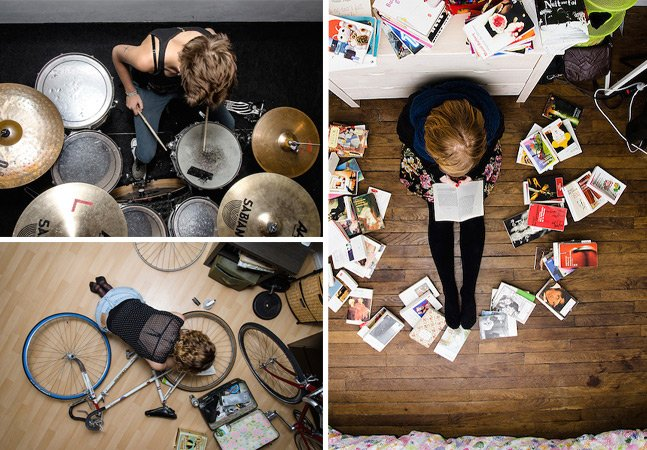 Série fotográfica mostra pessoas cercadas pelos seus hobbies