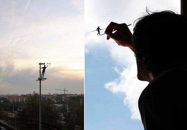 Ilustrador cria personagens em sua janela que interagem com o mundo lá fora