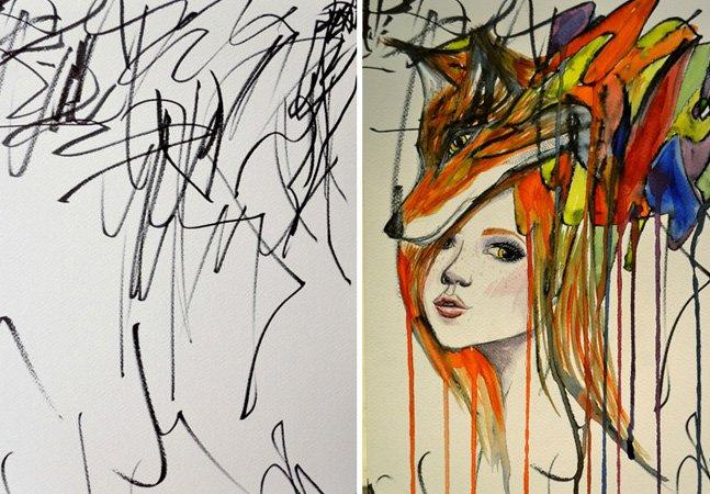 Artista usa desenhos da filha de 2 anos como base para criar aquarelas fantásticas