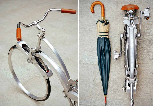 Italiano cria bicicleta dobrável que fica do tamanho de um guarda-chuva