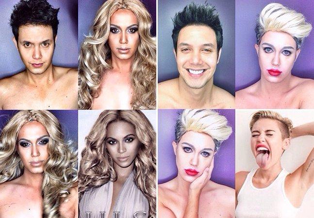 Homem usa maquiagem para se transformar em diversas celebridades femininas