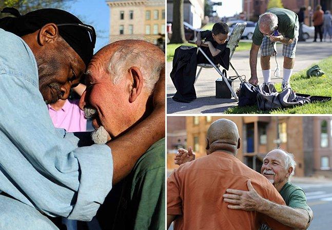 A história do homem de 82 anos  que corta cabelos de moradores de rua em troca de abraços