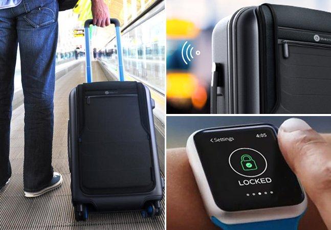Mala de viagem inteligente tem cadeado Bluetooth e permite carregar seus gadgets