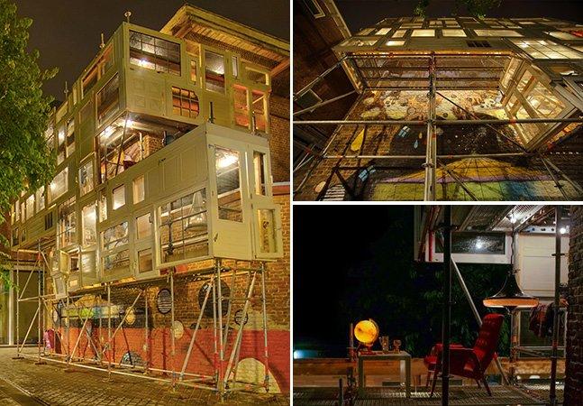 Arquiteta constrói abrigo comunitário usando somente portas e janelas reutilizadas