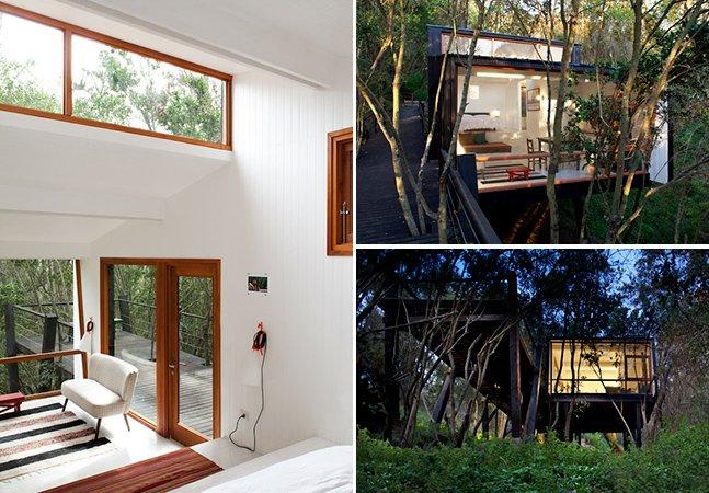 """Casa """"quebrada"""" coloca a arquitetura moderna no meio da natureza"""