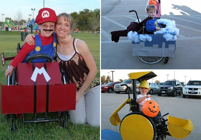Mãe usa cadeira de rodas do filho para criar divertidas fantasias de Halloween