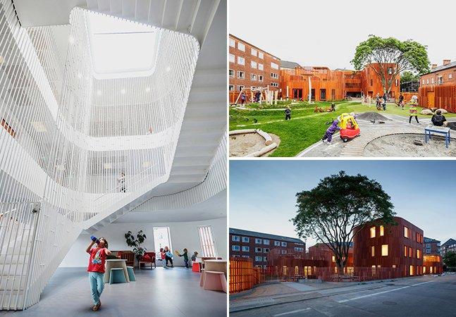 """A creche com arquitetura inovadora na Dinamarca que foi pensada como """"uma vila para crianças"""""""