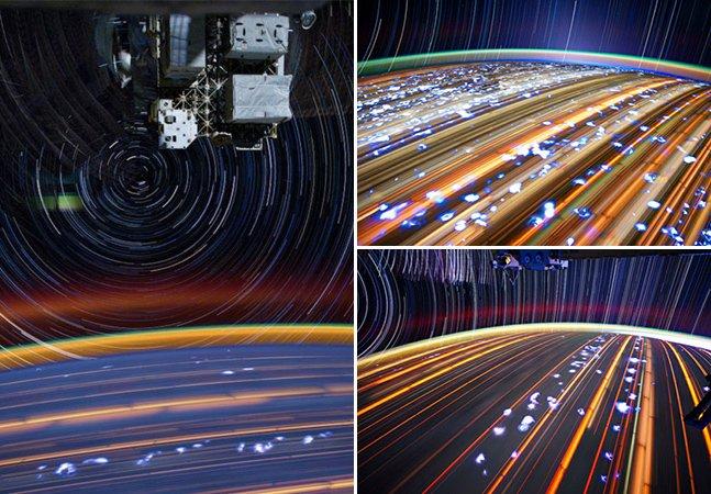 Astronauta utiliza técnica da longa exposição pra registrar imagens impressionantes do espaço