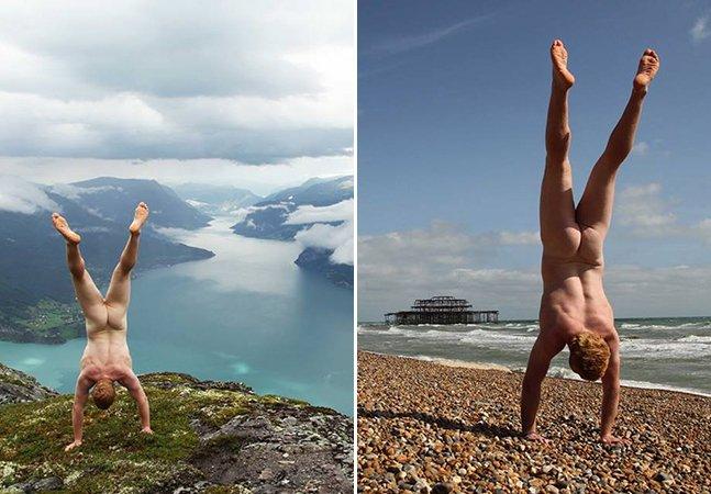 Homem viaja pelo mundo há 5 anos tirando fotos nu e de cabeça pra baixo
