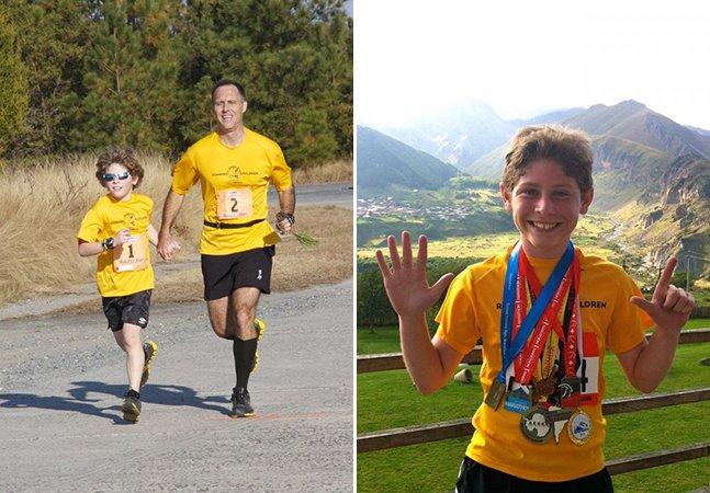 O garoto de 11 anos que já correu maratonas em todo o mundo arrecadando fundos para crianças