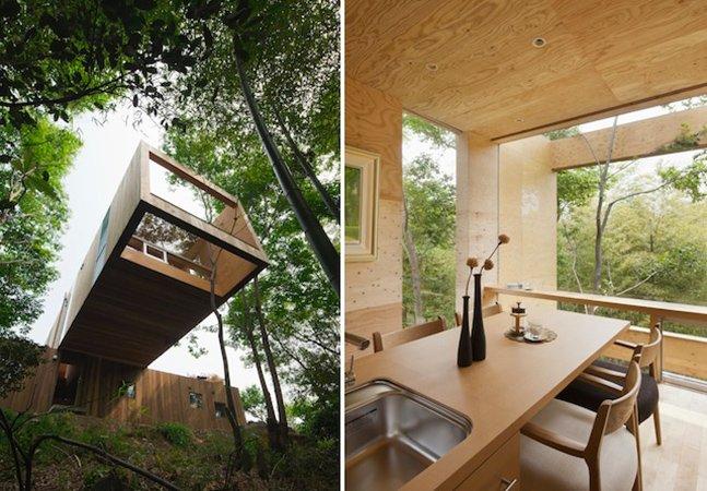 Arquitetos constroem casa suspensa e minimalista inspirada na natureza