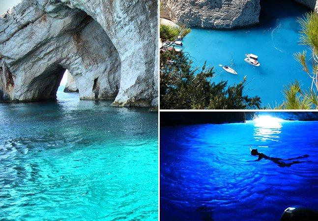 Conheça as encantadoras cavernas azuis da Grécia