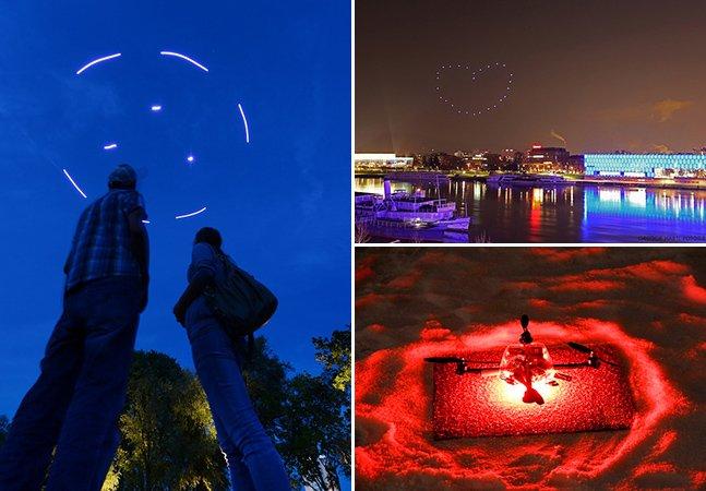 Drones criam ilustrações com light painting no céu em tempo real