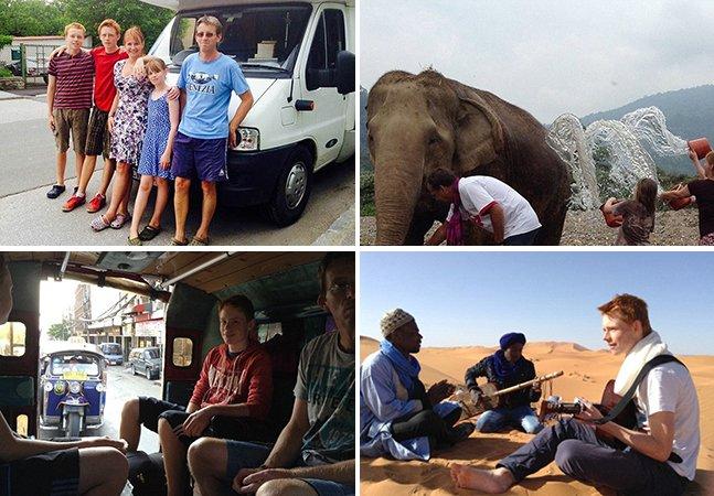Casal tira um ano para viajar pelo mundo com os três filhos adolescentes