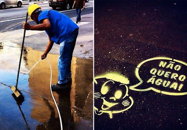 Perfil criativo no Instagram denuncia flagrantes de desperdício de água em SP