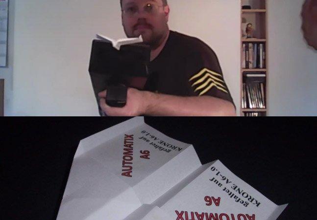 """Homem cria """"arma"""" feita em uma impressora 3D que dobra e atira aviões de papel"""