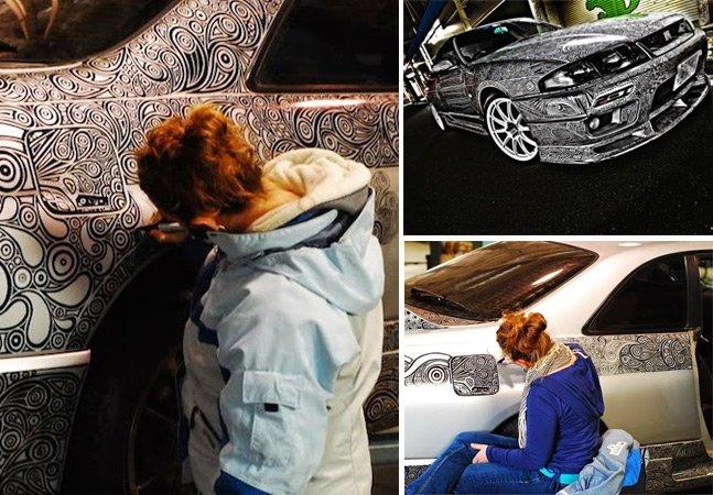 Artista usa caneta para criar desenhos detalhados e transformar o carro do marido em obra de arte