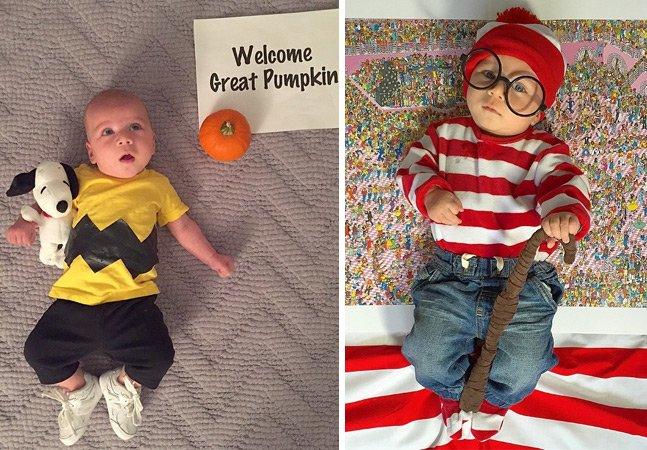 Mãe se prepara para o Halloween e veste seu bebê com uma fantasia criativa por dia