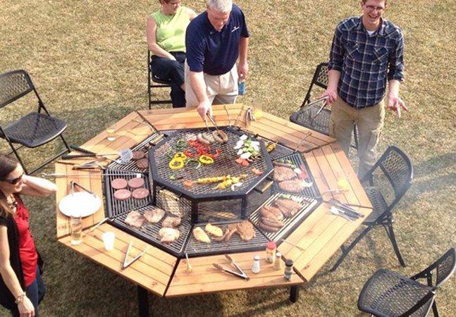 Churrasqueira inovadora no formato de mesa é a melhor opção pra curtir o churrasco com os amigos