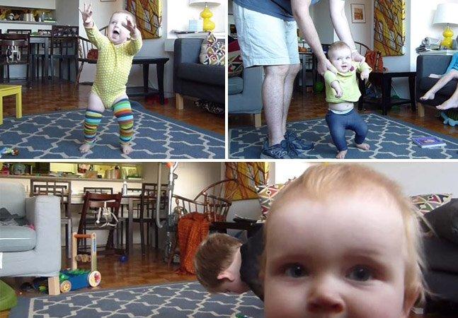 Pai cria timelapse encantador para registrar a filha aprendendo a andar