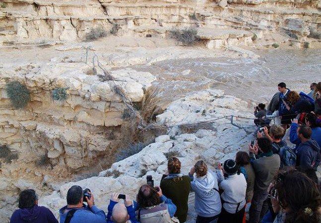 Vídeo mostra o exato momento em que um rio renasce no meio do deserto em Israel