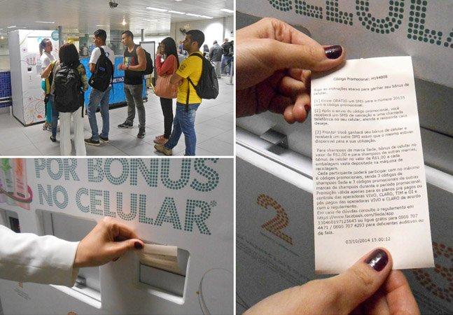Máquina em estação de metrô troca embalagens vazias de xampu por crédito no celular