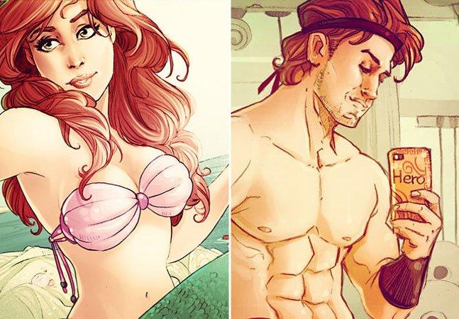 Ilustradora mostra como seria o Instagram dos personagens da Disney