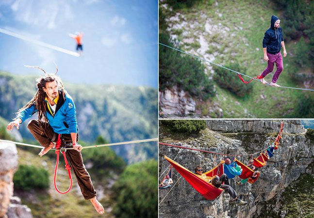 Atletas praticam slackline a mais de 100 metros de altura em meio aos alpes italianos