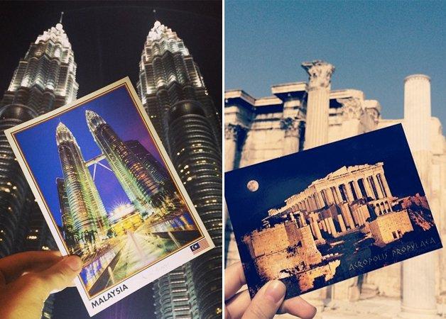 Jovem dá volta ao mundo e envia um cartão postal de cada lugar que visita pra avó de 84 anos