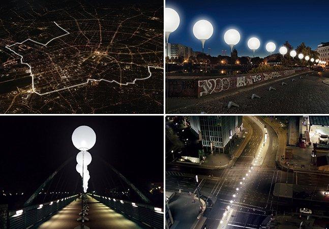 Instalação de 15 km feita com balões luminosos em Berlim celebra os 25 anos da queda do muro