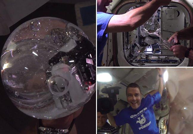 Astronautas conseguem filmar dentro de uma bolha de água usando câmera GoPro