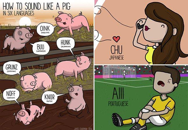 Série de ilustrações divertidas mostra como são os sons de coisas do cotidiano em diferentes línguas