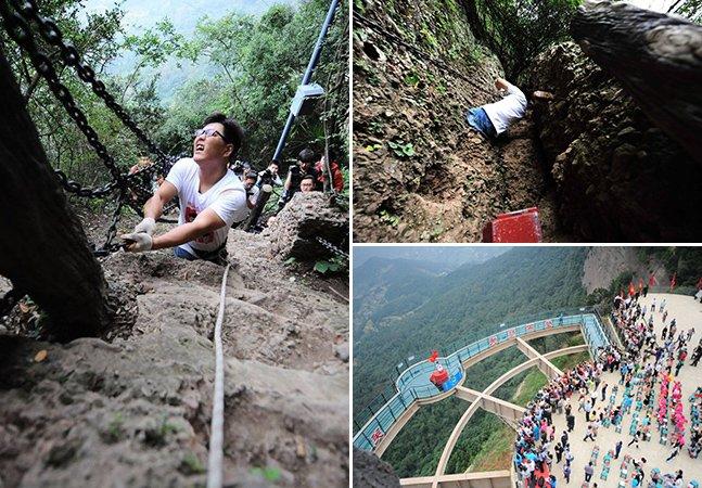 Homem sem as duas pernas escala as maiores (e mais perigosas!) montanhas da China