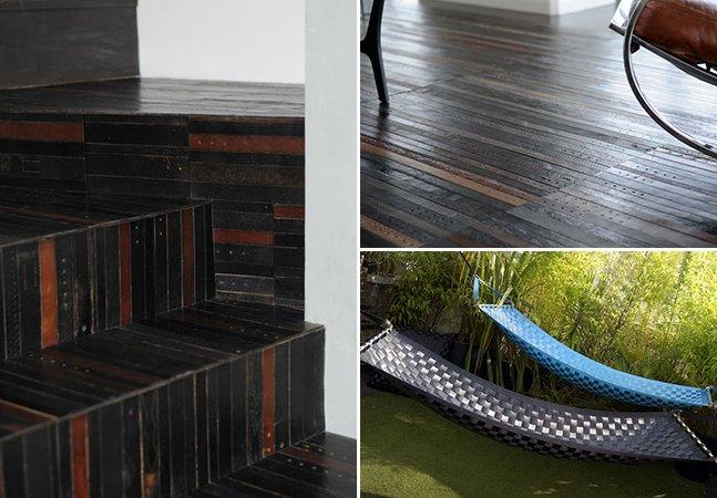 Loja utiliza cintos velhos para fazer revestimento elegante de pisos, paredes e outros produtos